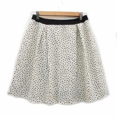 【中古】ルクスルフト Luxluft スカート フレア ひざ丈 ランダムドット柄 38 ホワイト 白 ブラック 黒 レディース