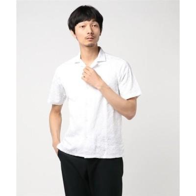 シャツ ブラウス フラワー刺繍開襟ショートスリーブシャツ