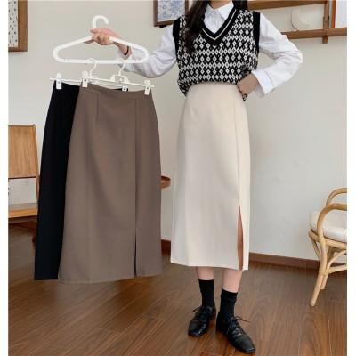 2020AW新品早割 2020年新型 韓国版 上品映え ハイウエスト スリム パーフェクト スカート ミディアムロング ブラック Aワード スカート 女