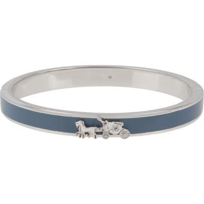 コーチ COACH レディース ブレスレット バングル ジュエリー・アクセサリー Horse & Carriage Enamel Hinged Bangle Blue/Rhodium