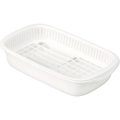 岩崎 水切りカゴ ホワイト 24×39.5×8.5cm クッキンパル 水切りバット皿立てスリム K-1656AW