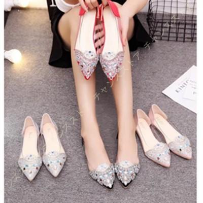 キラキラ ぺたんこ靴 パンプス レディース ローヒール フラット 大きいサイズ おしゃれ 可愛い ポインテッドトゥ 美脚 痛くない 疲れにくい 歩きやすい
