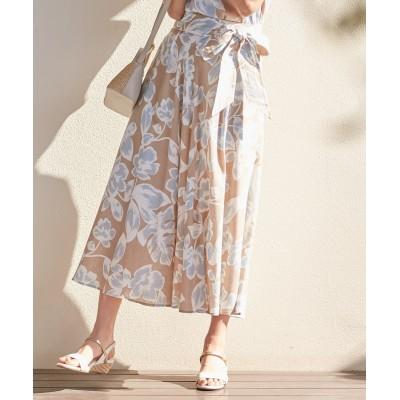 【洗える】エキゾチックフラワープリント スカート