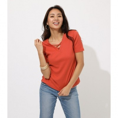 2WAY LACEUP TOPS /レディース/トップス カットソー  半袖【MARKDOWN】