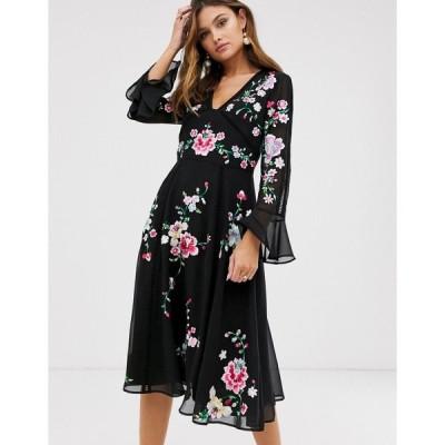 エイソス ミディドレス レディース ASOS DESIGN embroidered midi dress with lace trims エイソス ASOS ブラック 黒