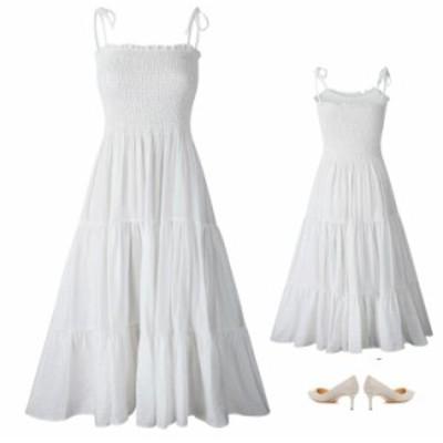 サロペットワンピース レディワンピース ストラップドレス ワンピース ミディミモレドレス エレガント シンプル 可愛い 乙女風 2color