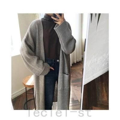 ニットカーディガン ロングアウター コート セーター 羽織 大きいサイズ 無地 秋夏 レディース 大人