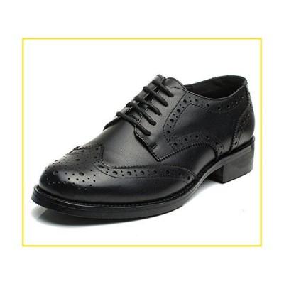 新品U-lite Black Brogues Lace-up Wingtip Leather Flat Oxfords Vintage Oxford Shoes Women Ladies BLK 6並行輸入品