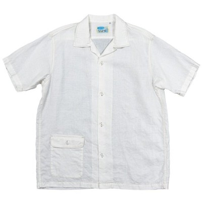WORKERS/ワーカーズ Open Collar Shirt, White Linen