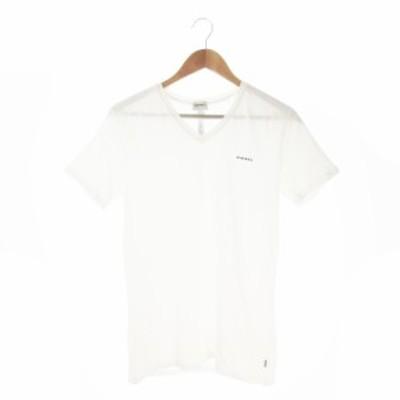 【中古】ディーゼル DIESEL UNDERWEAR Tシャツ カットソー Vネック 半袖 ロゴ ストレッチ M 白 ホワイト /AO12 メンズ