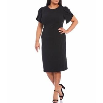 カルバンクライン レディース ワンピース トップス Plus Size Short Tulip Sleeve Solid Sheath Stretch Dress Black