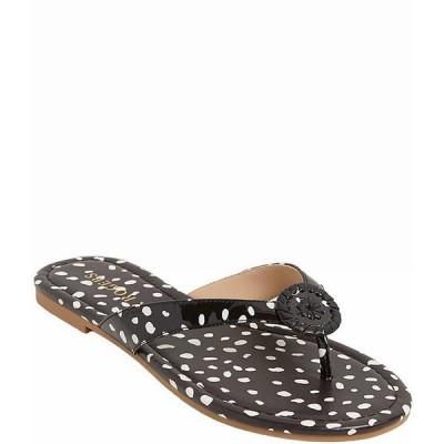 ジャックロジャース レディース サンダル シューズ Rowan Animal Dot Print Leather Thong Sandals Black/White