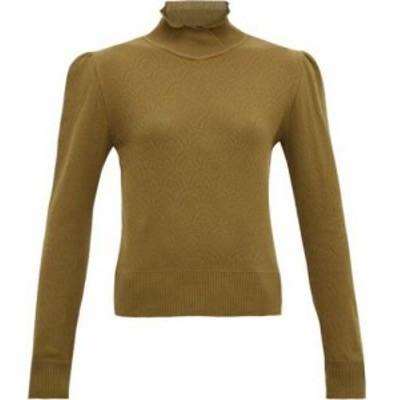シモンズ ピアメイン Symonds Pearmain レディース ニット・セーター トップス Ruffle-neck pointelle-knit cotton sweater Khaki brown