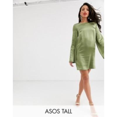 エイソス レディース ワンピース トップス ASOS DESIGN Tall long sleeve satin shift mini dress in washed satin Pale khaki