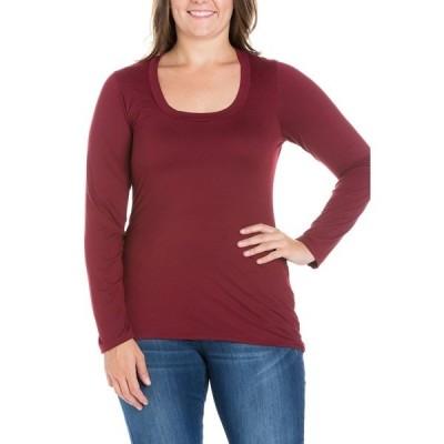 24セブンコンフォート カットソー トップス レディース Women's Plus Size Long Sleeves T-Shirt Wine