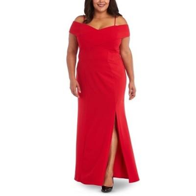 ナイトウェイ ワンピース トップス レディース Plus Size Portrait-Collar Scuba Gown Red
