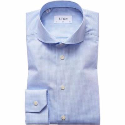 イートン ETON メンズ シャツ トップス Slim Fit Check Shirt White/Blue