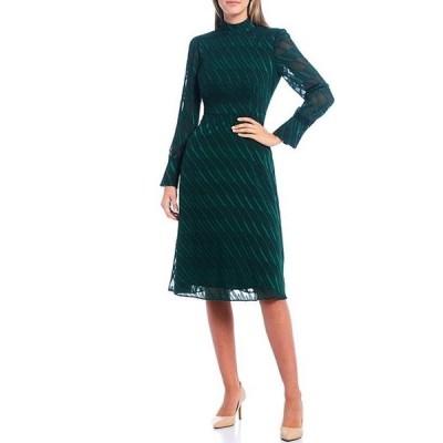 マギーロンドン レディース ワンピース トップス Long Sleeve Mock Neck Linear Burnout Dress
