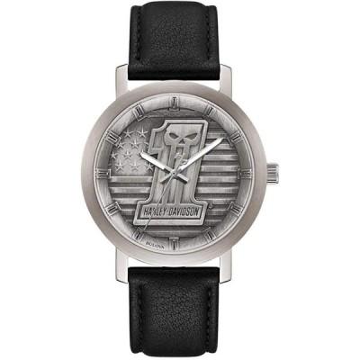 ハーレーダビッドソン Harley-Davidson Men's #1 Skull Stars & Stripes Watch w/Leather Strap 76A163 並行輸入品