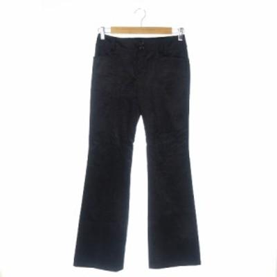 【中古】ナネットレポー nanette lepore パンツ ブーツカット コーデュロイ リボン ストレッチ 2 黒 ブラック