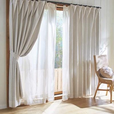 ドレープカーテン 裏地付3級遮光カーテン(フラワー・100×135・2枚組)(直送)