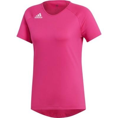 アディダス adidas レディース サッカー ジャージ トップス Hi-Lo Cap Sleeve Jersey Shock Pink/White