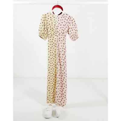 ミスセルフフリッジ レディース ワンピース トップス Miss Selfridge puff sleeve mixed print dress in blush and lemon