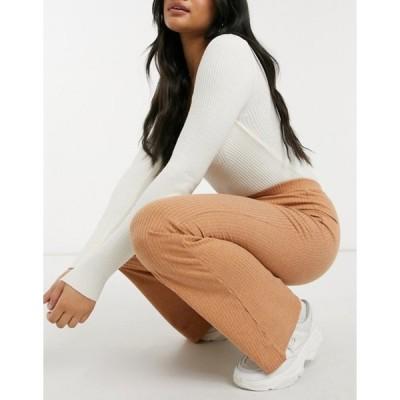 ファッションモンキー レディース カジュアルパンツ ボトムス Fashion Union coordinating high waist flared pants in space dye knit