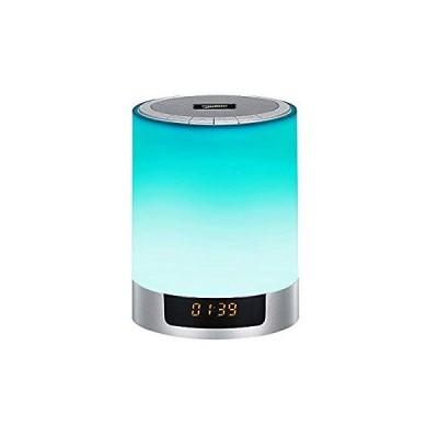 デジタル目覚まし時計、LEDブルートゥーススピーカー目覚まし時計、FMラジオ時計、ポータブル目覚まし時計スピーカーサウンド、カラフルなライトデスクトッ