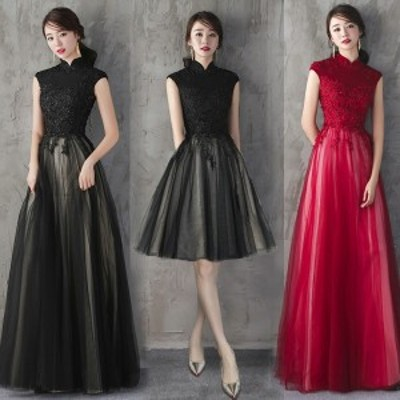 花柄刺繍レース入りロング丈ドレス