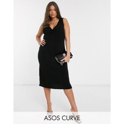 エイソス ASOS Curve レディース ワンピース ミドル丈 ワンピース・ドレス ASOS DESIGN Curve ruched front knitted midi dress ブラック