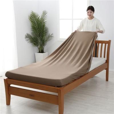 〔西川〕 シーツ/寝具 〔シングル〜セミダブル ブラウン〕 日本製 取付簡単 洗える 綿混 クイックラップシーツ のびのびシーツ〔代引不可〕