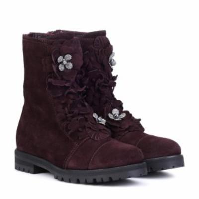 ジミー チュウ Jimmy Choo レディース ブーツ シューズ・靴 Havana Flat suede boots Burgundy