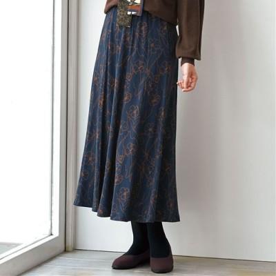 ウエストらくらくスカート(選べる2レングス・洗濯機OK)/ネイビー/L(総丈68)