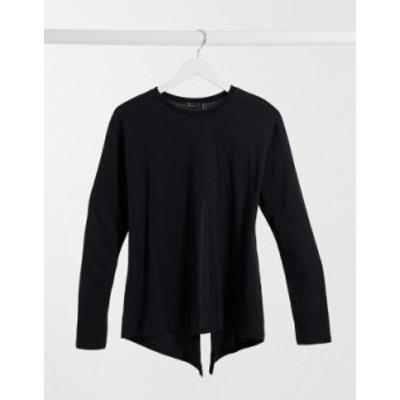 エイソス レディース シャツ トップス ASOS DESIGN long sleeve t-shirt with split back in black Black