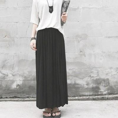 ロングスカート 40代 30代 レディース スカート ハイウエスト プリーツスカート 体型カバー ゆったり かわいい トレンド 黒 ブラック