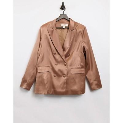 リカリッシュ Liquorish レディース スーツ・ジャケット アウター tailored satin blazer in brown ブラウン