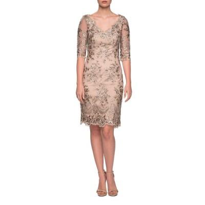 ラフェム レディース ワンピース トップス V-Neck Sheer Half-Sleeve Embroidered Sheath Dress