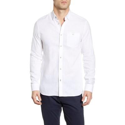 テッドベーカー TED BAKER LONDON メンズ シャツ トップス Slim Fit Linen & Cotton Button-Up Shirt White