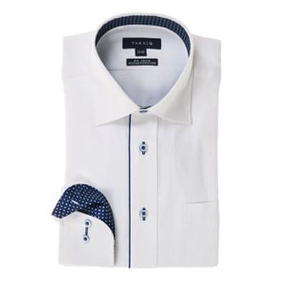 形態安定(ノーアイロン)レギュラーフィットワイドカラー長袖ビジネスドレスシャツ