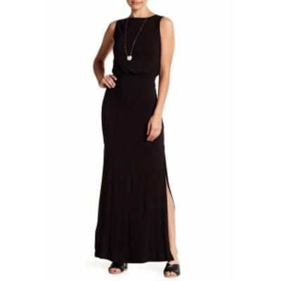 Maxi  ファッション ドレス Go Couture Womens Black Size Small S Slit High Neck Blouson Maxi Dress