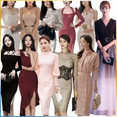 【3枚+1枚💖5枚+2枚】Special Offer   高品質韓国ファッションOL正式な場合礼装ドレスセクシーなワンピース一字肩二点セット側開深いVネックやせて