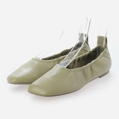 ルーシュドスクエアトゥ バレリーナフラット / Ruched Square Toe Ballerina Flats (Sage Green)