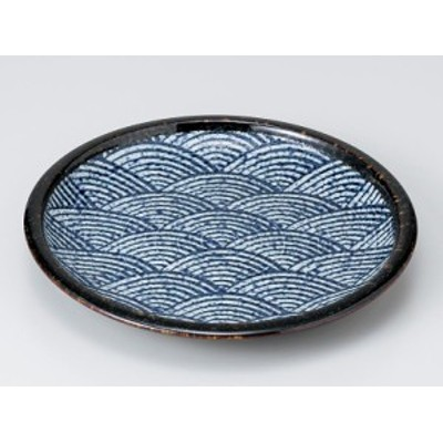 【和食器  丸形 中皿】青海波括り手8.0皿