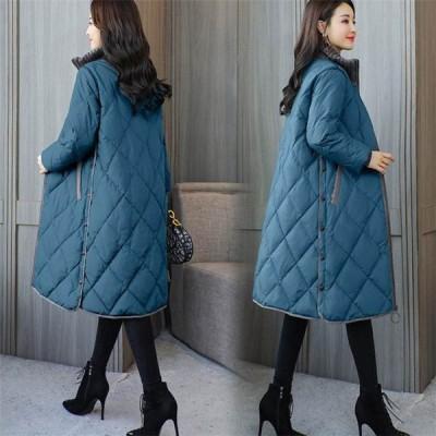 ダウンコート 中綿コート レディース ロングコート 無地 中綿ジャケット ジップアップ ロング丈コート 冬 綺麗 上品 オシャレ 4色