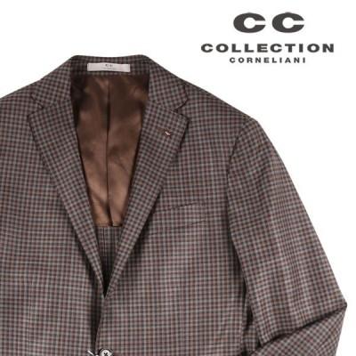 【52】 CC COLLECTION シーシーコレクション ジャケット メンズ 春夏 ヴァージンウール100% チェック ブラウン 茶 並行輸入品 アウター トップス 大きいサイズ