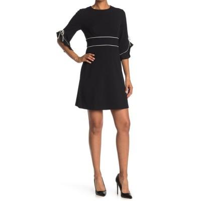 サンドラ ダーレン レディース ワンピース トップス 3/4 Sleeve Crepe Shift Dress BLK/IVY