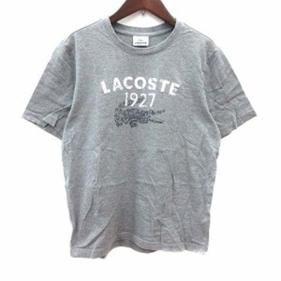 【中古】ラコステ LACOSTE Tシャツ カットソー クルーネック ロゴ 半袖 3 グレー /YK レディース