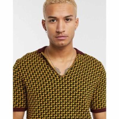 エイソス ASOS DESIGN メンズ ポロシャツ トップス muscle fit polo shirt with geo design in mustard マスタード