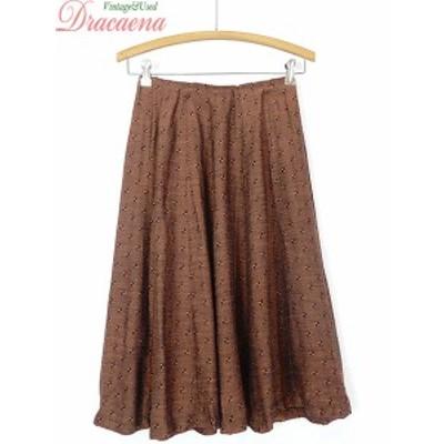 古着 レディース ヴィンテージ スカート 40~50s ブラウン ブラック 織り柄 模様 フレア ミドル丈 レトロ オールド コの字 古着